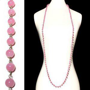 Vintage 20s Rose Peking Glass LONG Beaded Necklace
